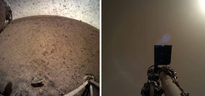"""Op de linkse foto is de omgeving te zien waar de InSight zich bevindt. Op de rechtse foto heeft de verkenner zijn eigen """"arm"""" in beeld genomen."""