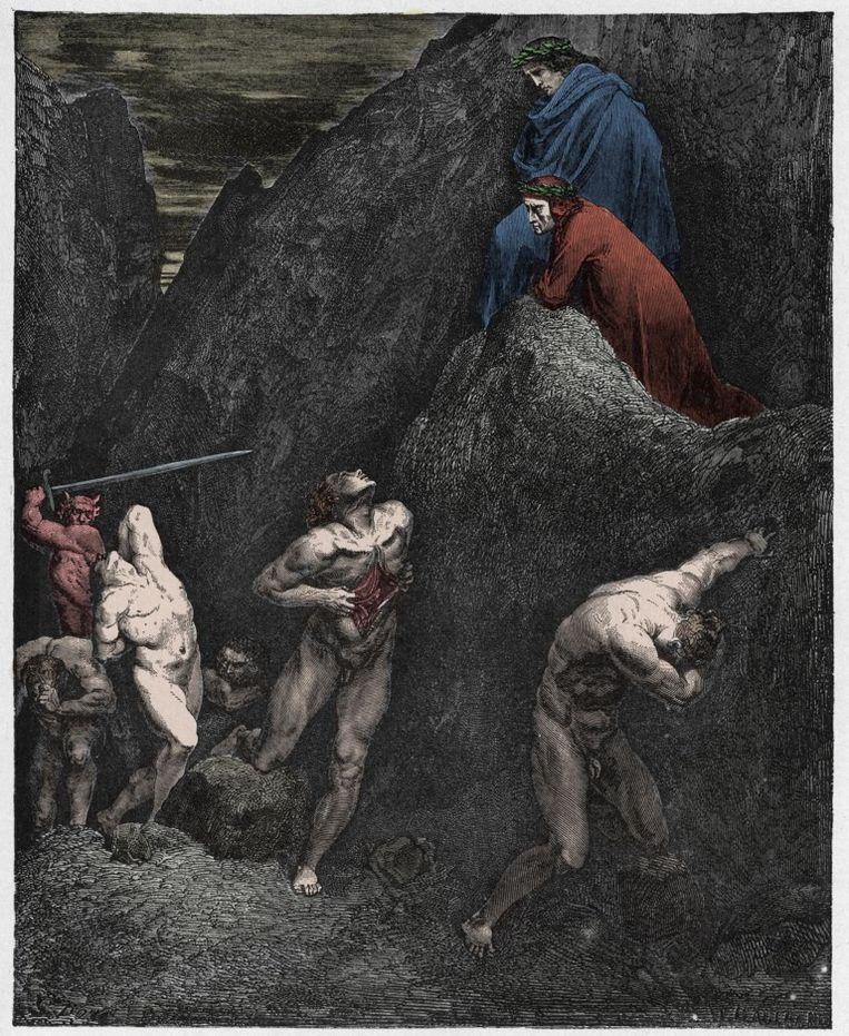 Illustratie van Gustave Doré (1832-1883) bij 'Aanstokers van tweedracht en schisma: de verminkte schaduw van Mohammed', een canto uit de Goddelijke komedie. Beeld Belga