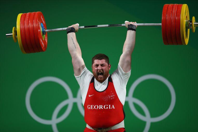 De Georgische Lasha Talakhadze op de Olympische Spelen van Rio de Janeiro in 2016.   Beeld