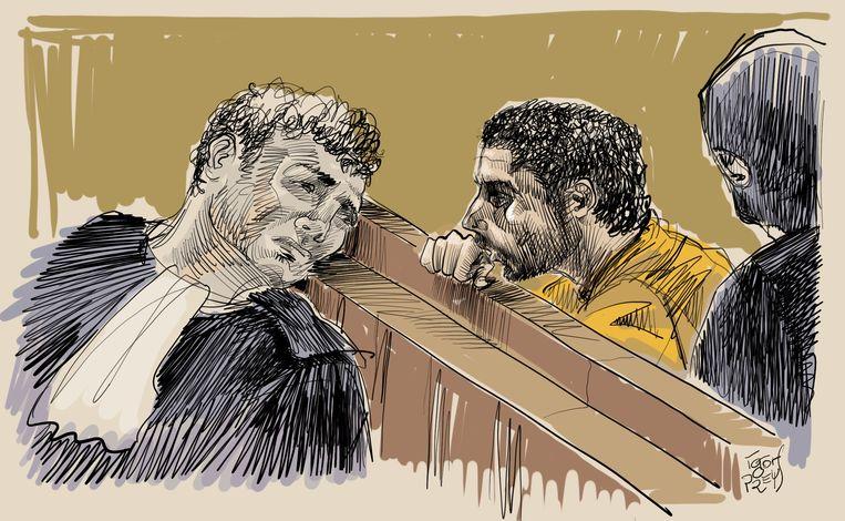 Een rechtbanktekening van Mehdi Nemmouche. Beeld BELGA