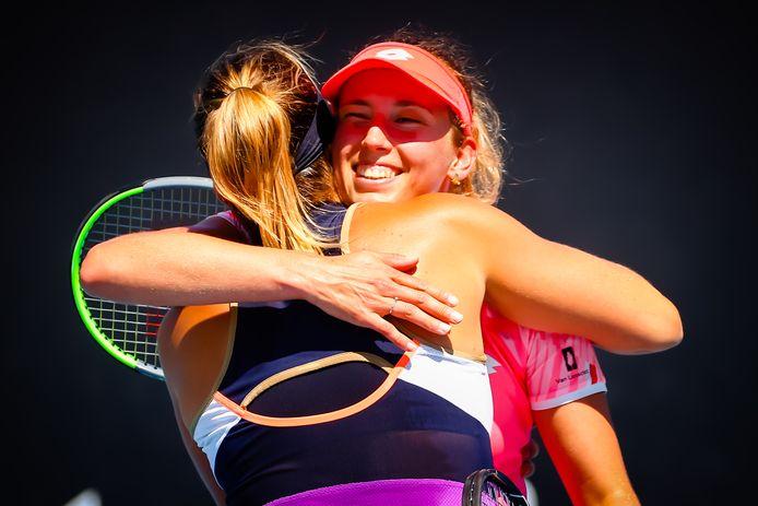 Aryna Sabalenka et Elise Mertens lors de leur qualification pour la finale du double à l'Open d'Australie