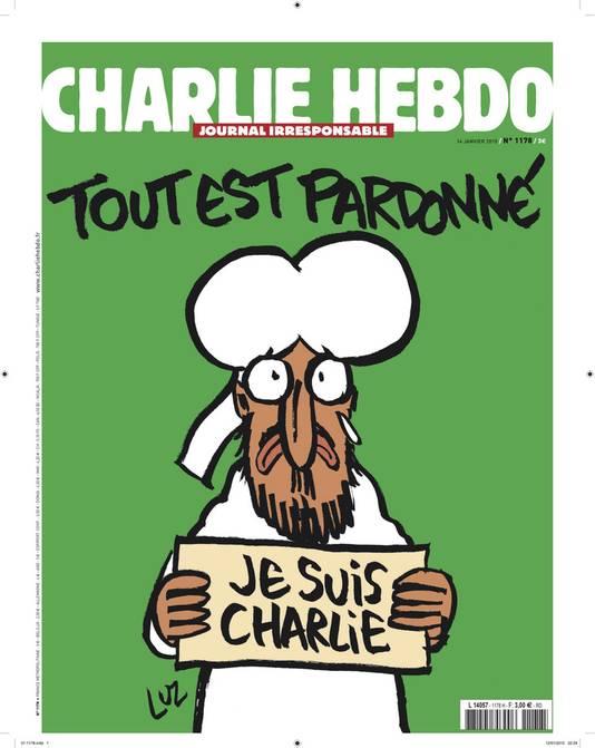 De cover van het nieuwe nummer van Charlie Hebdo dat woensdag verschijnt