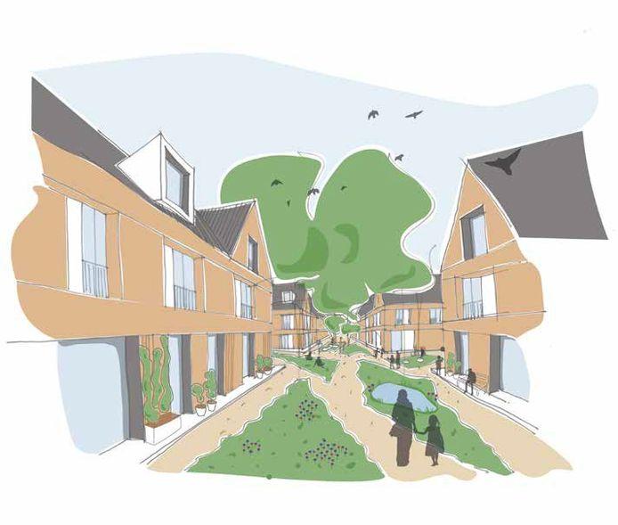 Een illustratie uit de brochure over nieuwbouw voor de Gildebuurt in Eindhoven. De Wassenaarstraat en Slagerstraat worden autovrij in de plannen.