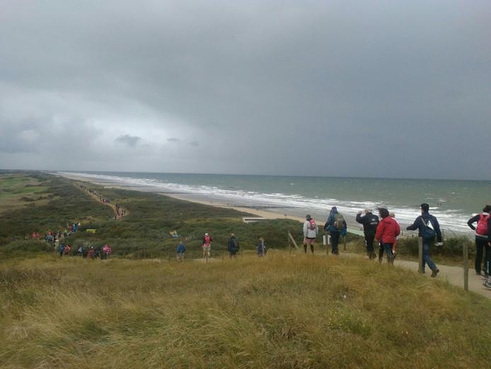 Wandelaars zijn onderweg naar Zoutelande.