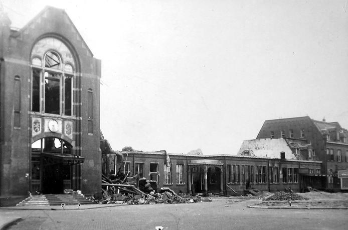 Foto van station in Roosendaal na de Tweede Wereldoorlog, illustratie bij Live gedichten bij bevrijdingswandeling op 5 mei