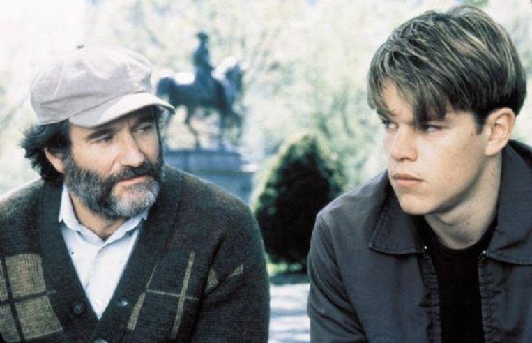 Robin Williams (links) en Matt Damon in Good Will Hunting. Beeld Brunopress