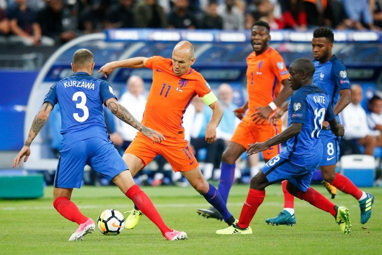 Nederland is in de Nations League ingedeeld bij Frankrijk. Op 31 augustus 2017 werd met 4-0 van Frankrijk verloren in een WK-kwalificatiewedstrijd. Beeld ANP