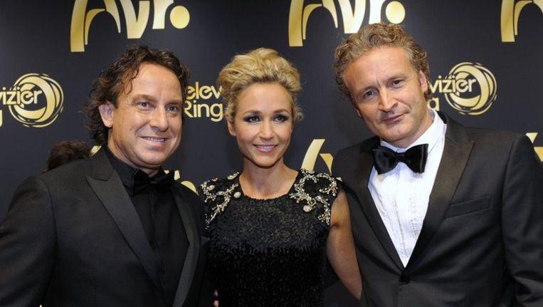 TVoH-coach Marco Borsato, presentatrice Wendy van Dijk en RTL-programmadirecteur Erland Galjaard. Beeld anp