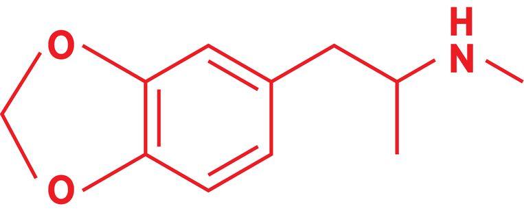 De structuur van MDMA.  Beeld Sander Soewargana