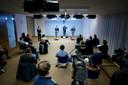 Demissonair Premier Mark Rutte en demissionair minister Hugo de Jonge (Volksgezondheid, Welzijn en Sport) geven een toelichting op de extra coronamaatregelen in Nederland. ANP BART MAAT