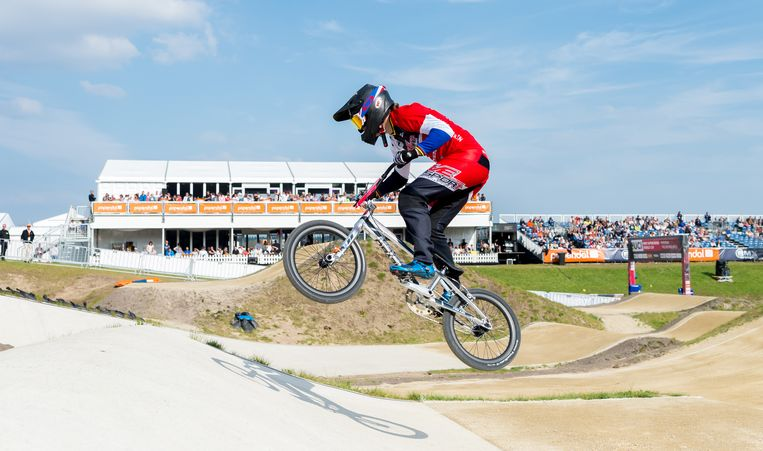 Laura Smulders in actie tijdens de UCI BMX Supercross World Cup. Beeld ANP