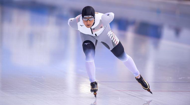 Claudia Pechstein tijdens het wereldbekertoernooi in Wit-Rusland.  Beeld BSR Agency