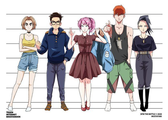 De hoofdrolspelers in de animatiefilm over online challenges en groepsdruk. Het tweede personage van links is de in 2017 overleden Tim Reynders uit Arkel.