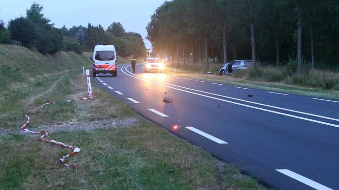 Tynni Habraken botste op de Structuurweg in Schijndel met haar auto op een basaltkei.