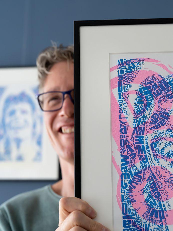 Huub Smits met een van zijn kunstwerken.