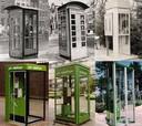 De telefooncel door de jaren heen, met in het midden boven het Engelse model in 1931 op het Valeriusplein in Amsterdam en rechts daarnaast de zogenoemde ' kouwebenencel' ook uit 1931. De telefooncel gaat uit het straatbeeld verdwijnen.