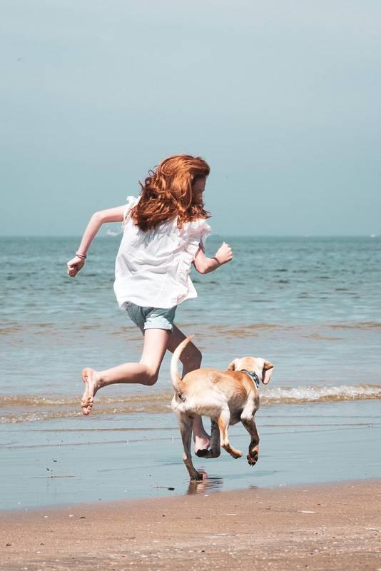 Kleindochter Nova met hond Fritz op het strand van IJmuiden afgelopen mei.