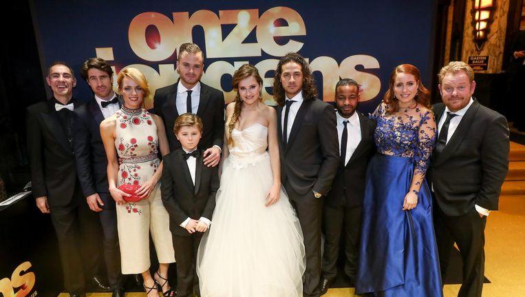De cast van Onze Jongens tijdens de premiere van de film vorig jaar in Amsterdam. Beeld anp