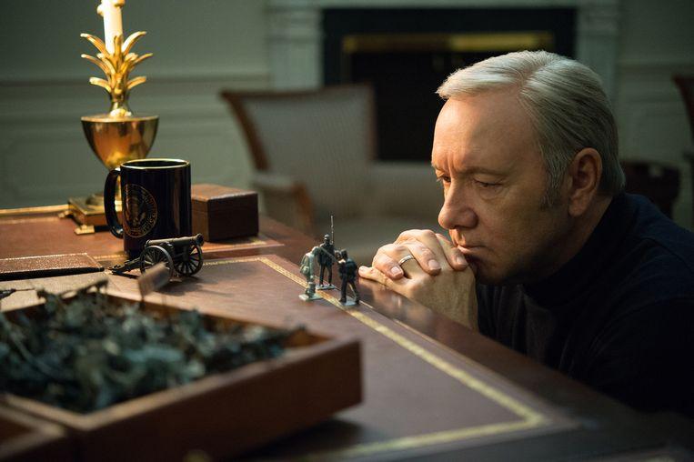 Frank Underwood, president met psychopatentrekken (House of Cards) . Beeld © David Giesbrecht/Netflix