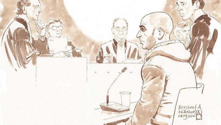 Benaouf A. in de rechtbank in 2014. Beeld anp