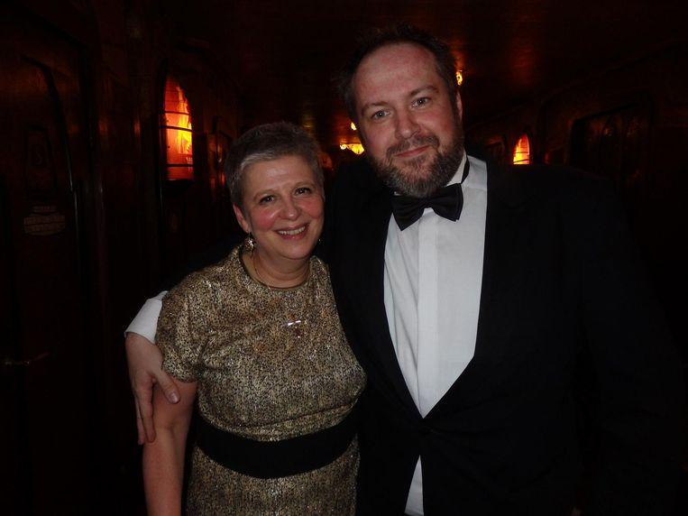 Producent Els Vandevorst en editor Job ter Burg, ook van Paul Verhoeven's Elle, die een nacht eerder twee Golden Globes won. 'Dus ik heb een heel leuke dag' Beeld Schuim