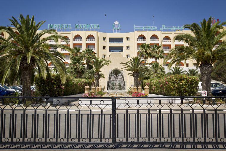 Exterieur van het hotel Imperial Marhaba in Sousse waarbij bij een aanslag op het strand zeker 39 mensen om het leven kwamen. Beeld null