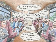 Burgemeester en wethouders van de Heuvelrug door het stof na treinrel