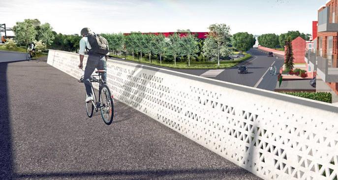 Een blik op de toekomstige fietsbrug over het kruispunt Vijfstraten.
