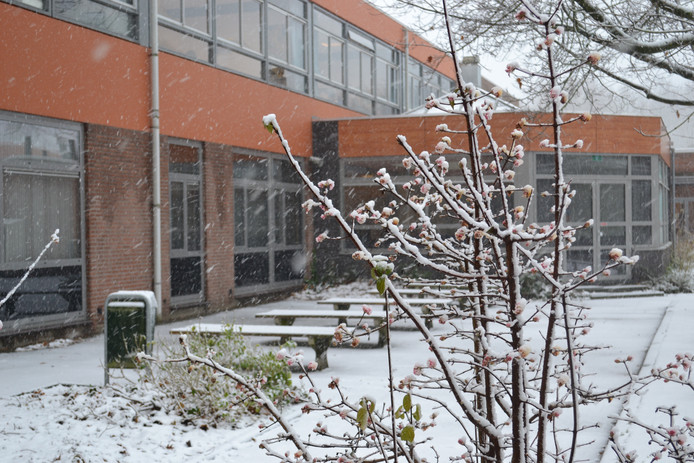 Het Altena College in Sleeuwijk in winterse sferen.