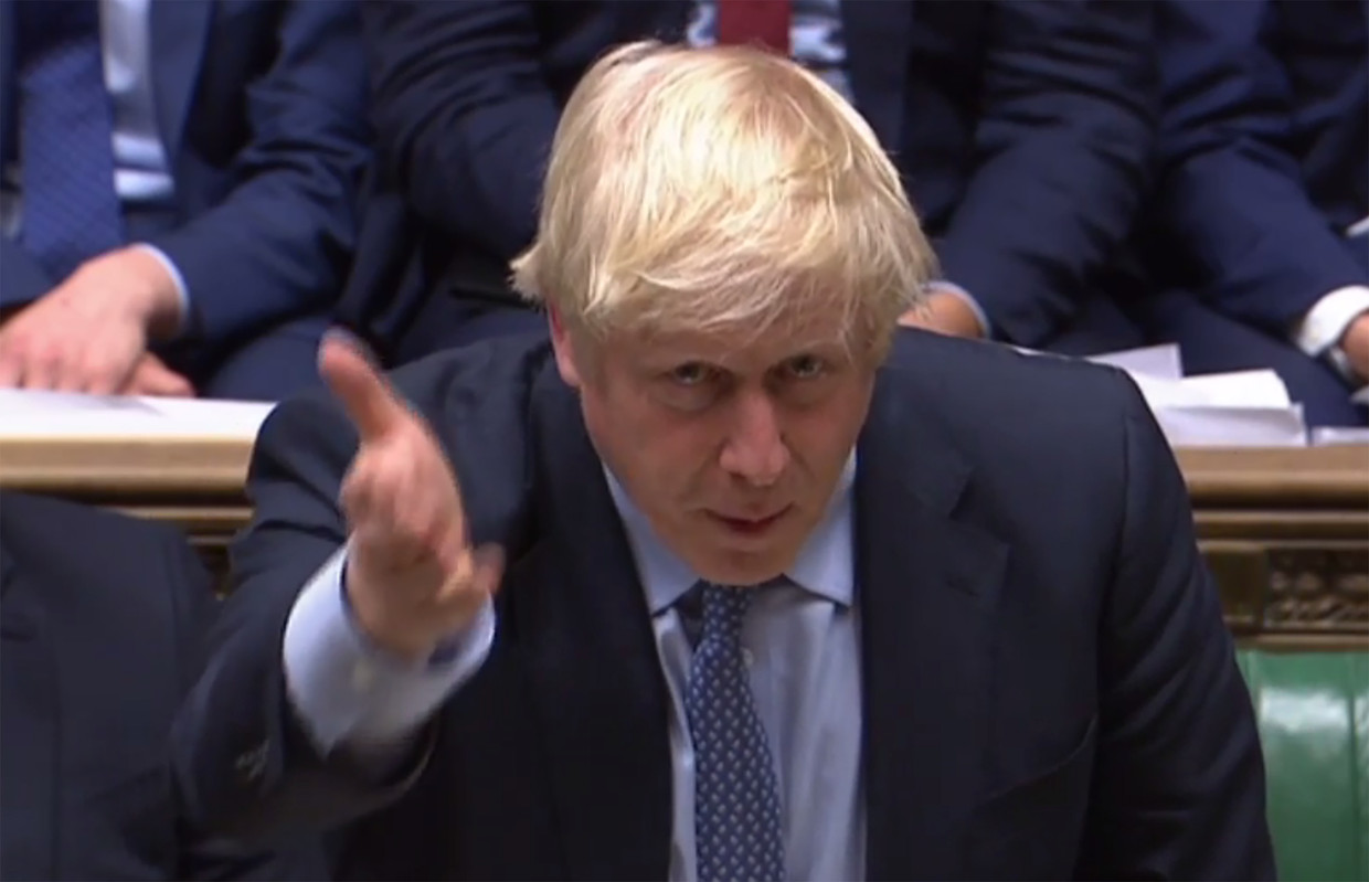 Boris Johnson in het Lagerhuis.