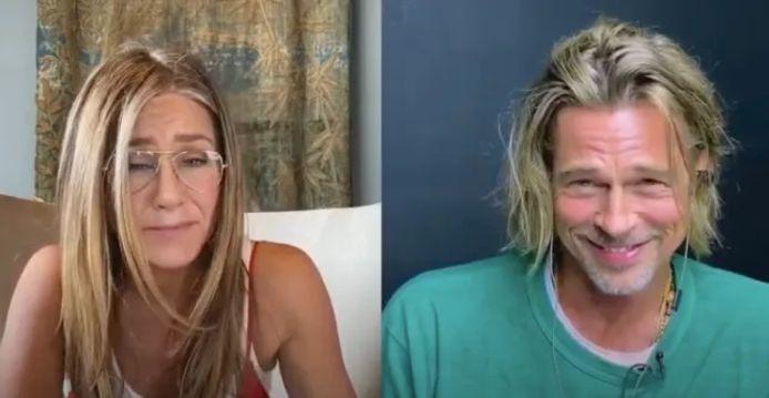"""Jennifer Aniston et Brad Pitt lors de la lecture virtuelle de la comédie américaine de 1982, """"Ça chauffe au lycée Ridgemont"""" en septembre dernier."""