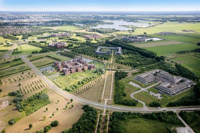 De kastelen van de Haverleij en Engelen vanuit de lucht gezien.