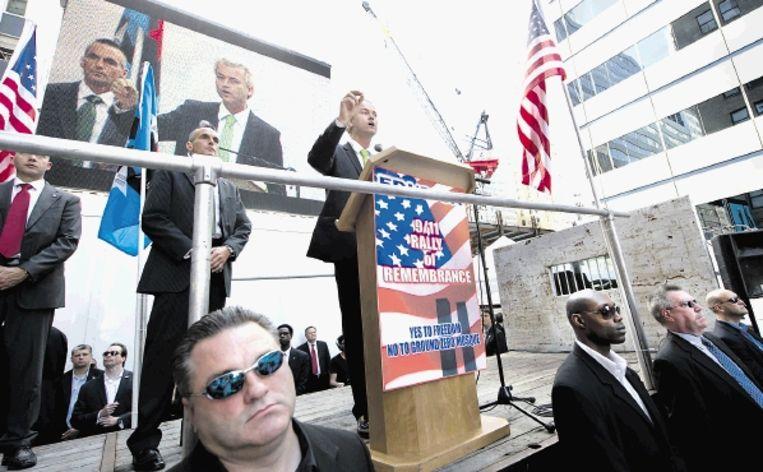Geert Wilders 'beperkte de schade' zaterdag in New York. (FOTO MARCEL ANTONISSE, ANP) Beeld ANP