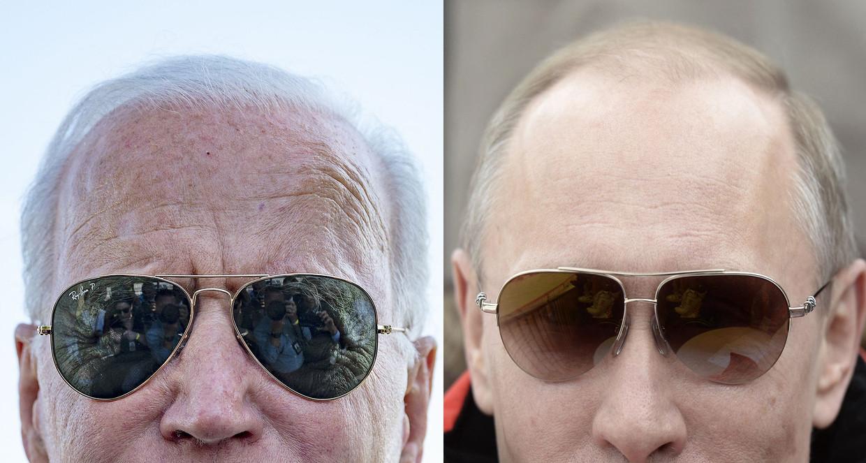 Links: Joe Biden, president van de VS. Rechts: Russisch president Vladimir Poetin. Beeld AFP