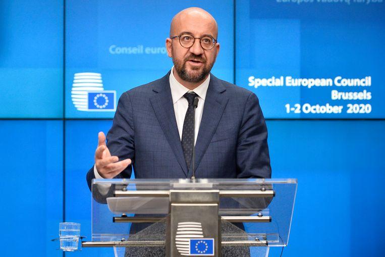 Europese Raadsvoorzitter Charles Michel tijdens de persconferentie na afloop van de vergadering op donderdagnacht. (02/10/2020) Beeld EPA