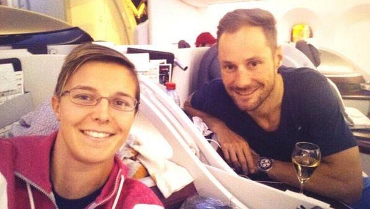 Kirsten Flipkens en Tom Boonen samen op weg naar Doha Beeld Twitter