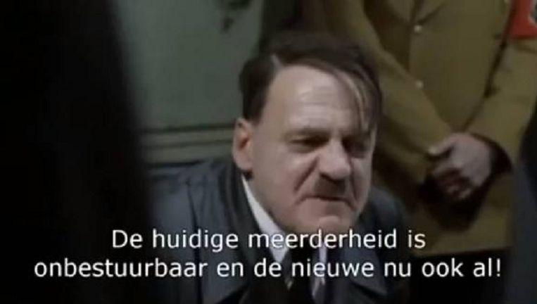 Tiens burgemeester Michel Logist (sp.a) krijgt de rol van Hitler toebedeeld in de parodie met beelden uit 'Der Untergang'. Beeld Facebook/TienenPlus