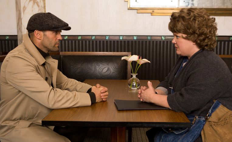 Jason Statham en Melissa McCarthy in Spy uit 2014.