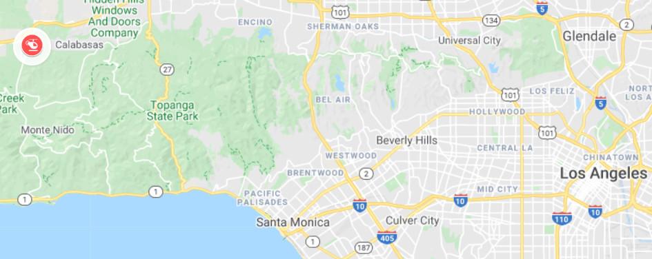 De exacte locatie waar de helikopter van Kobe Bryant neerstortte op zondag 26 januari om 09u47 lokale tijd, volgens LA County Sheriff's Department.