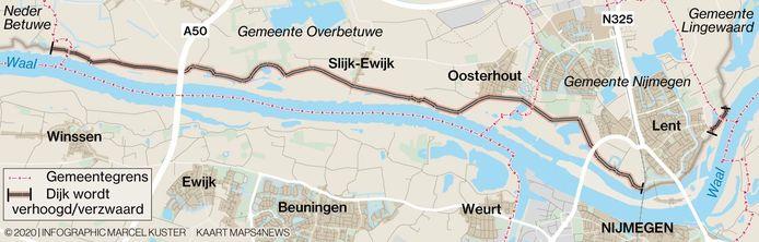 De geplande dijkverzwaring en -verhoging tussen het buurtschap Wolferen bij Andelst en De Sprok tussen Lent en Bemmel.