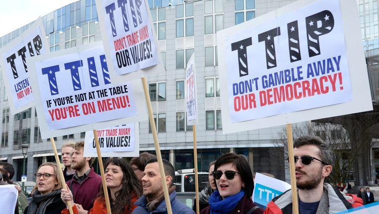 Protest tegen de TTIP onderhandelingen, eerder deze week in Brussel Beeld AFP