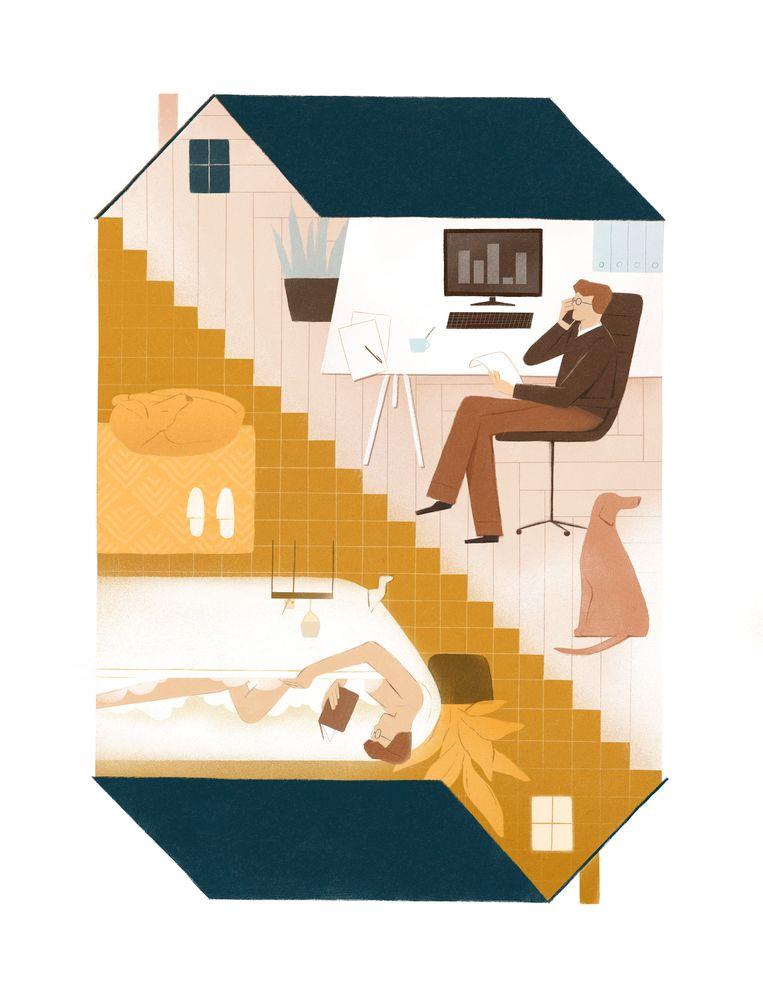 Onze grondige renovatie van het concept 'woning' gaat echter verder dan een likje verf of een nieuwe zithoek. De hele functie van onze woonst is veranderd. Beeld Maarten Peeters