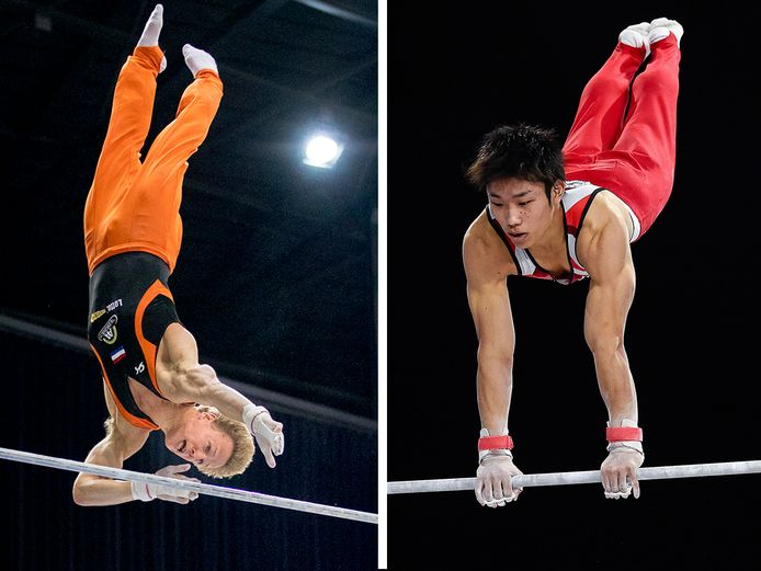 Epke Zonderland en Hidetaka Miyachi (rechts).
