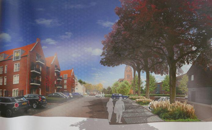 Blik op het nieuwe Mgr. Bekkersplein vanaf de Haarensteijnstraat.