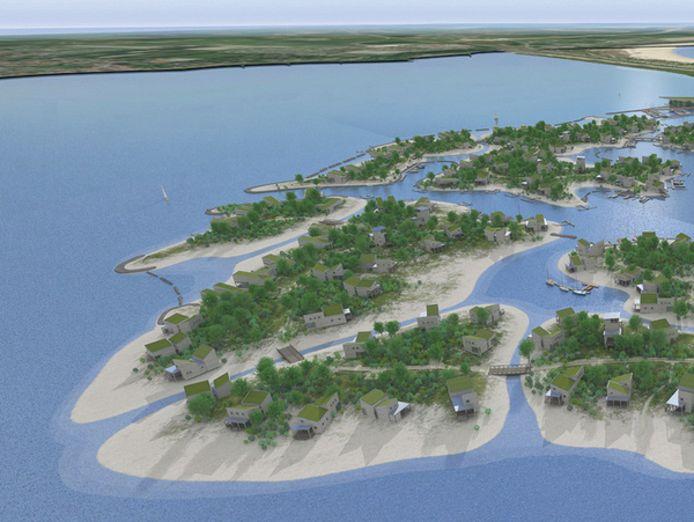 Dertien luxe vakantie-eilandjes in de Grevelingen, zo zou Brouwerseiland eruit moeten komen te zien.