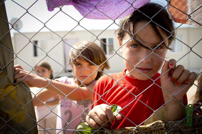 Syrische kinderen in een vluchtelingenkamp in Kilis aan de Turks-Syrische grens. Beeld null