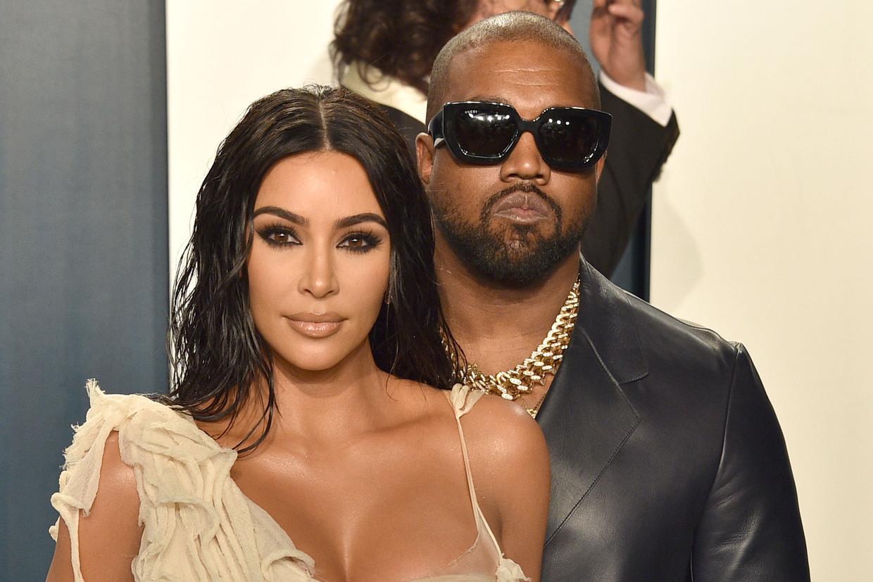 Kim Kardashian en Kanye West Beeld Patrick McMullan via Getty Image
