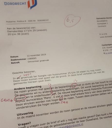 Brief van gemeente Dordrecht vol taalfouten en kromme zinnen