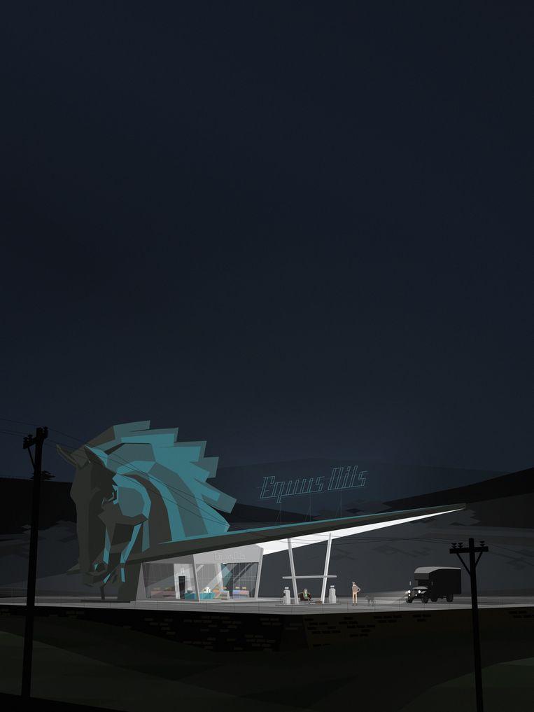 Een beeld uit 'Kentucky Route Zero', een game wiens invloeden uit onder meer beeldende kunst, film en literatuur worden getoond op de expo. Beeld Cardboard Computer