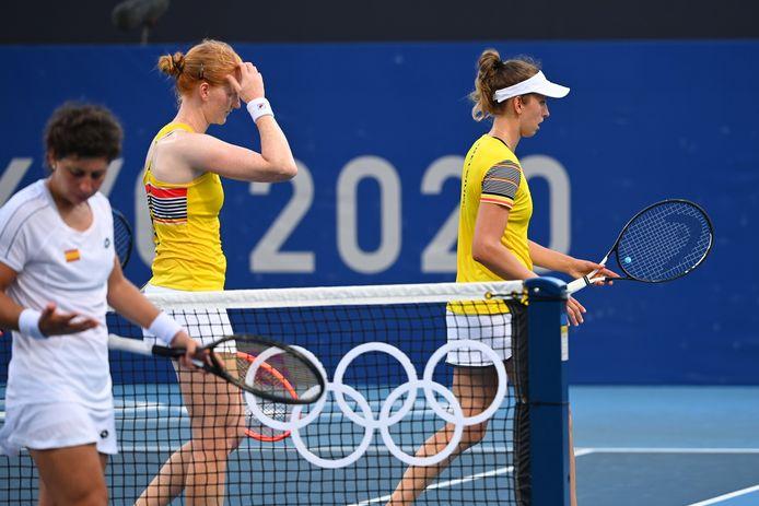 Alison Van Uytvanck en Elise Mertens zijn al meteen uitgeschakeld in het dubbelspel.